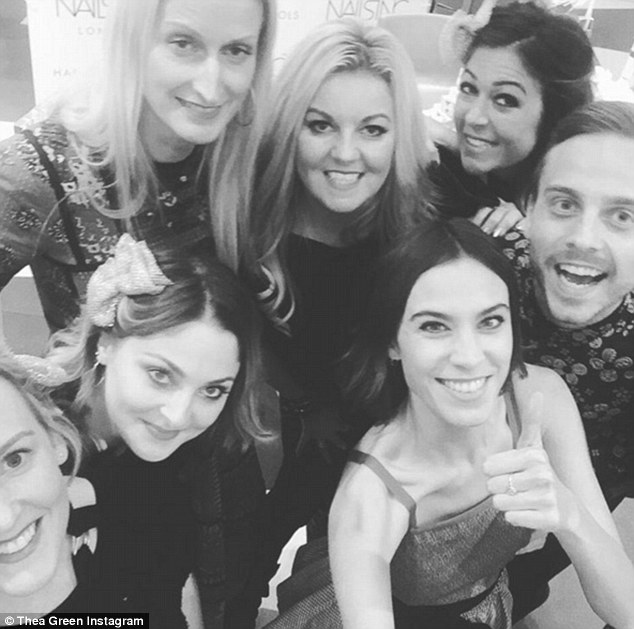 Thea, pictured with the team and Alexa Chung, admits she didn't know much about business or polish formulations when she started her brand but has since grown it into a global company with new launches constantly