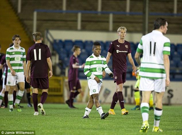 Dembele walks off the pitch following the 3-1 triumph for the Celtic U20 tea