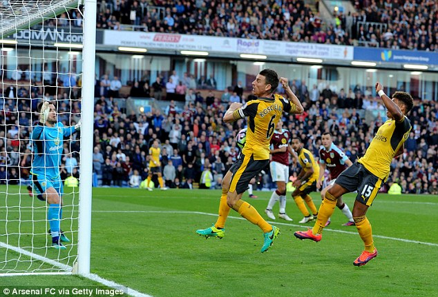 Laurent Koscienly bundled home a late goal for Arsenal during their 1-0 win over Burnley