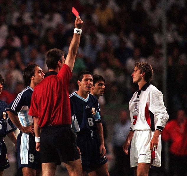 David Beckham was sent off as England were beaten on penalties by Argentina at 1998 World Cup in France