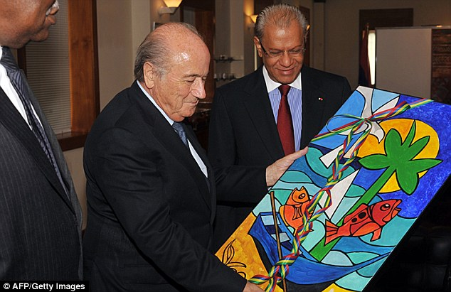 Nice trip? President Sepp Blatter in Mauritius to attend the 63rd FIFA Congress held last week