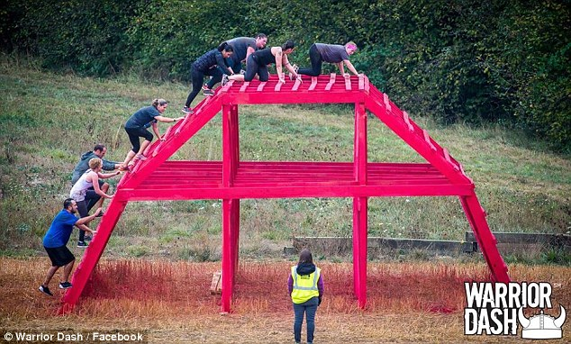 The structure is shown on the website for the national race series as a 30-by-50-foot arched wooden framework
