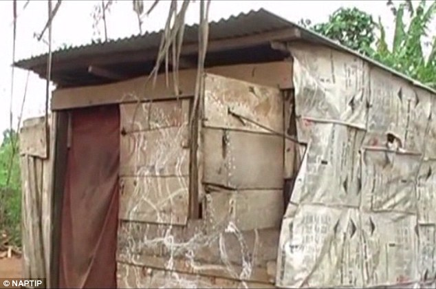 In another case in Cardiff in 2014, Lizzy Idahosa, 26, was jailed for eight years after being found guilty of running a brothel ring where Nigerian women had eaten snails and snakes in pre-trafficking rituals. Pictured: A hut in Benin City used for such ceremonies