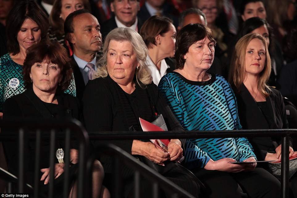 FRONT ROW SEATS: Kathleen Willey, Juanita Broaddrick and Kathy Shelton were given prominent seats by the Trump campaign