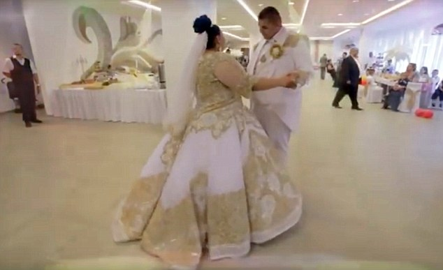 The newly wed couple during their first dance of the glitzy wedding celebrations in Slovakia