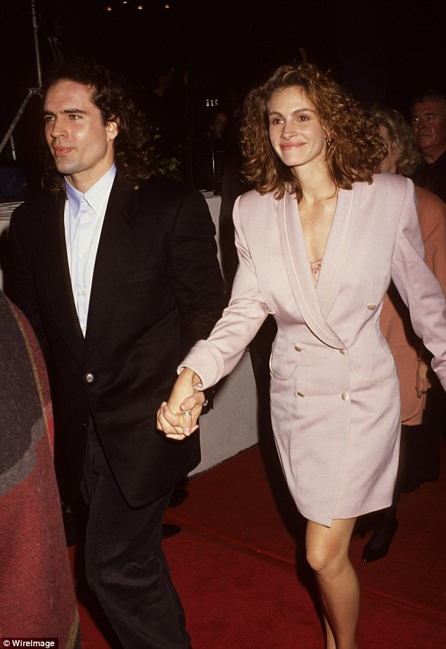 Moved on: Julia and Jason Patric dated for just a year after she ditched Kiefer to be with him; the two are pictyred at the premiere of Rush in 1992