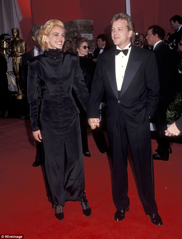 Hollywood's It couple: Julia and Kiefer at the Oscars in 1991; weeks later she ditched him three days before their wedding day, after a go-go dancer sold her story