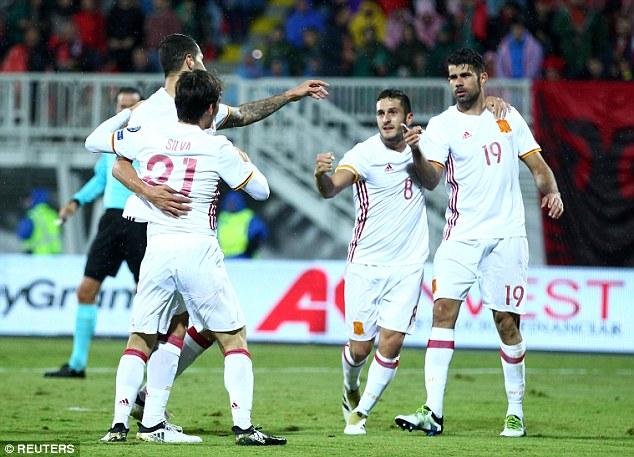 Chelsea striker Diego Costa celebrates after breaking the deadlock in the second half