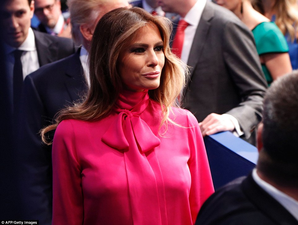 Melania Trump is seen walking away from the stage after the conclusion of the second presidential debate on Sunday night