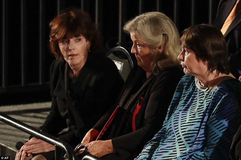 Kathleen Willey, Juanita Broaddrick, and Kathy Shelton sit in the audience before the debate between Republican presidential nominee Donald Trump and Democratic presidential nominee Hillary Clinton