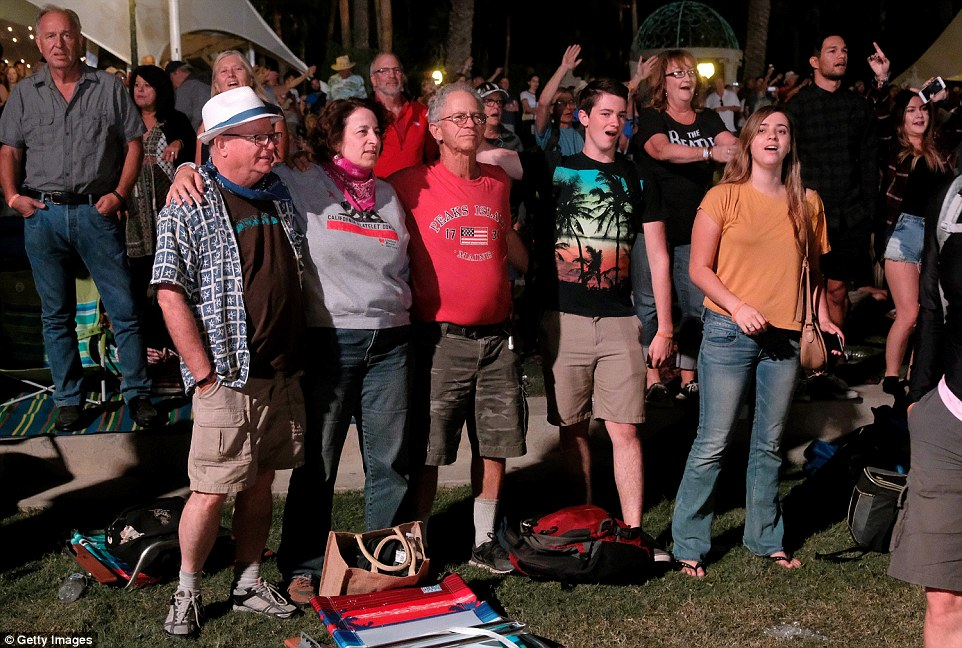 Showing their support: Families brought along picnic blankets and folding chairs for the festival in Indio, California