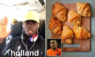 Manchester United star Paul Pogba dances in the air while Memphis Depay rejects croissants