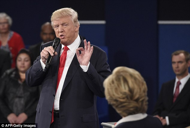 Donald Trump once again sniffed repeatedly during the presidential debate Sunday night (pictured) - something that happened last month during the first debate