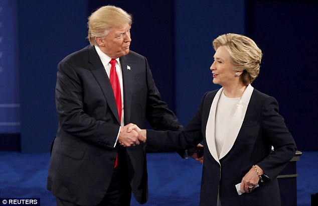 LIKE OLD FRIENDS: Hillary Clinton and Donald Trump were asked to say something nice about each other as Sunday night's presidential debate ended in St. Louis, Missouri