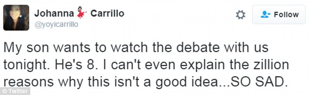 Journalist and mother Johanna Carrillo tweeted that she wouldn't be letting her eight-year-old son watch the debate
