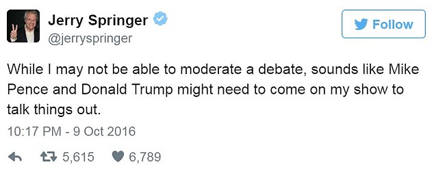 The daytime TV host, who is best known for mediating fistfights and showdowns on 'The Jerry Springer Show', offered his services to the running mates during Sunday's debate