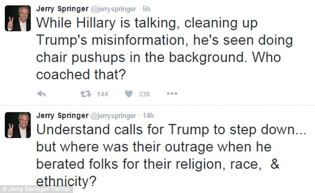 Springer slammed Trump in a series of tweets during the fiery 90-minute debate and said he belonged on his show, rather than in the White House