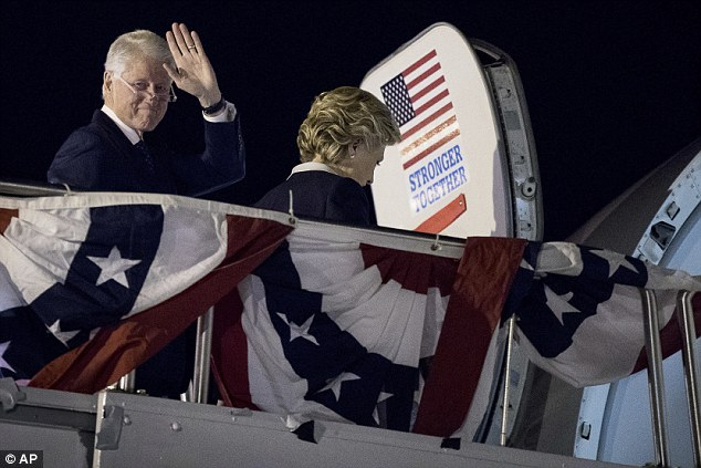 Trump attempted to make up lost ground by coming at Clinton with everything he had on her emails, her judgement, her trustworthiness, even hitting her with her husband's alleged transgressions. The Clintons are pictured boarding Hillary's campaign plane in St. Louis