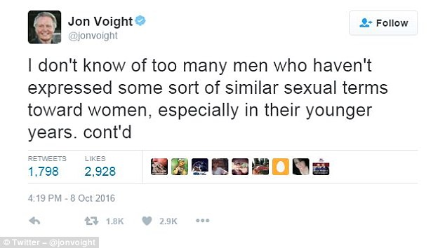 Voight also defended Trump for his remarks about women, which were picked up by a hot mic as he was filming a segment for Access Hollywood in 2005
