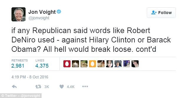 Voight tweeted that 'all hell would break loose' if similar words were used against Democratic politicians like Hillary Clinton or Barack Obama