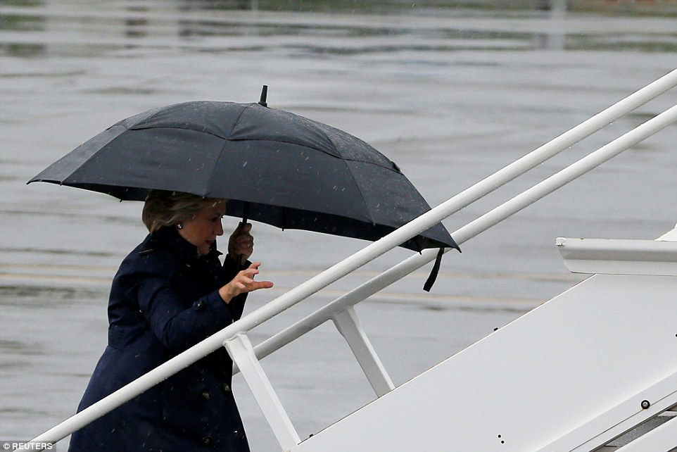 The campaign decided that with droves of Republicans fleeing from Trump that there's little they can do to put more pressure on the GOP nominee (pictured leaving New York on Sunday)