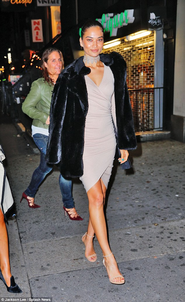 Ready to kick up her heels! Shanina Shayk was dressed to the hilt in a clingy taupe mini dress as she headed to Bella's birthday bash at Up & Down in New York
