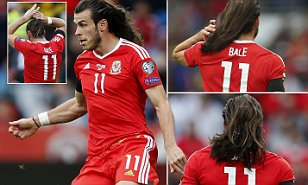Gareth Bale shows off his lengthy locks as Wales draw against Georgia in World Cup