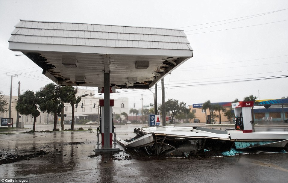 Collapsed: The roof of a gas station that fell off, fortunately with no cars around, in Daytona
