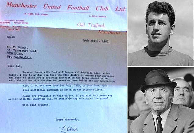 Manchester United paid keeper Pat Dunne just £35 a week in the 1960s