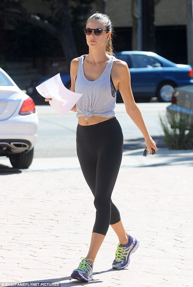 Gym rat: Alessandra was spotted hitting the gym earlier in the day in Los Angeles