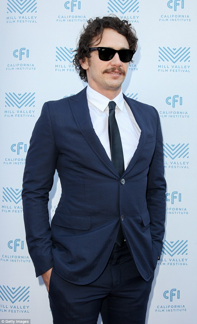 Feeling good: He looked happy on the red carpet of the event held at the Cinearts theater at Sequoia in Mill Valley, California