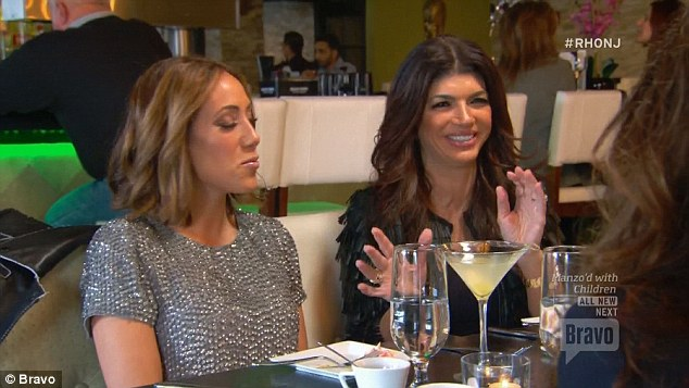Good times: Melissa and Teresa showed a united front during their dinner with the ladies