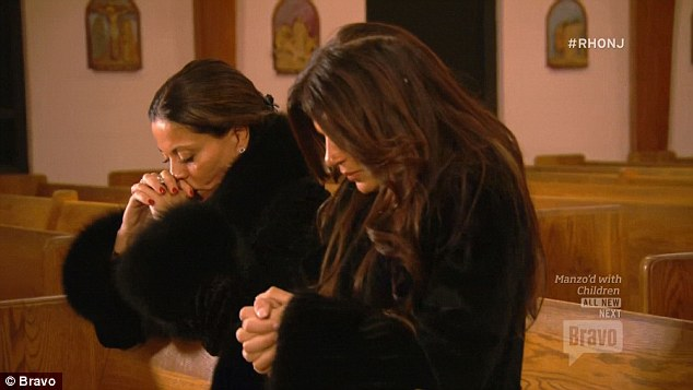 In prayer: Dolores and Teresa prayed together in the church