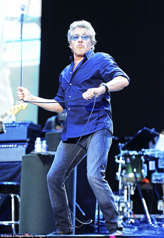 Taking a swing at them: Roger Daltrey thrilled fans by whipping around his microphone as The Who played the Desert Trip festival in California on Sunday