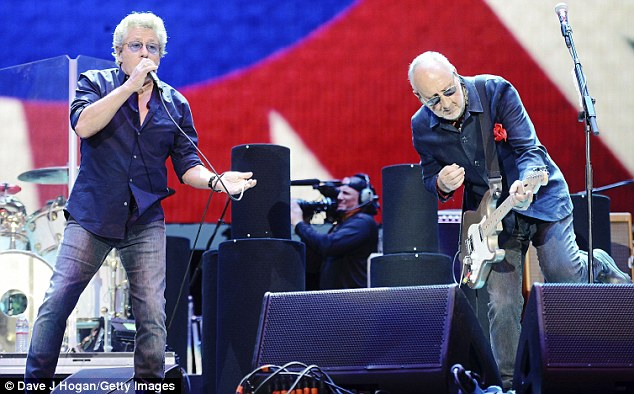 The Who sell out: He was joined on stage by his fellow original band member Pete Townshend