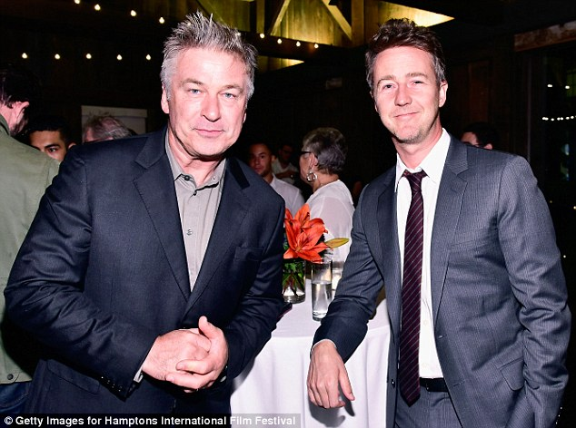 Famous friends: Alec was seen catching up with Edward Norton inside the event