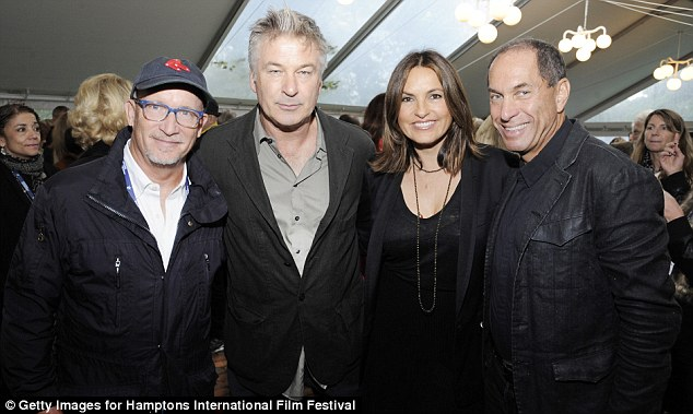 Chatting away: The actor also spent some time with (L-R) Alex Gubney, Mariska Hargitay and Stuart Match Suna