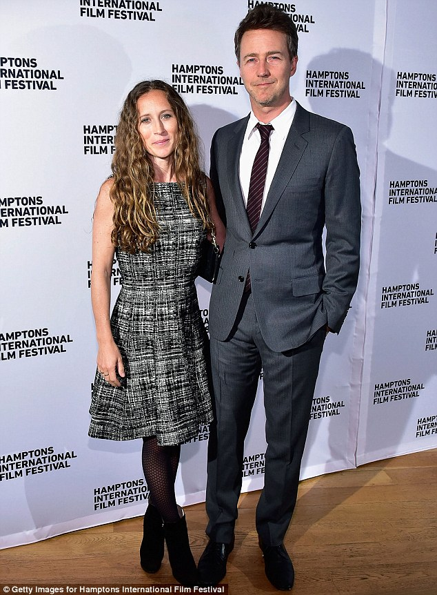 Longtime love: Edward Norton posed with film producer wife Shauna Robertson, who he married in 2012