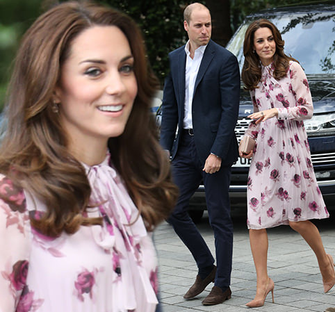 An English rose! Kate steps out in a £428 Kate Spade dress