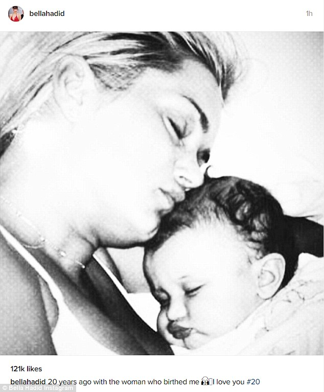 'the woman who birthed me': Earlier in the day, she'd posted a photo of herself as a baby with her mother, Yolanda Hadid