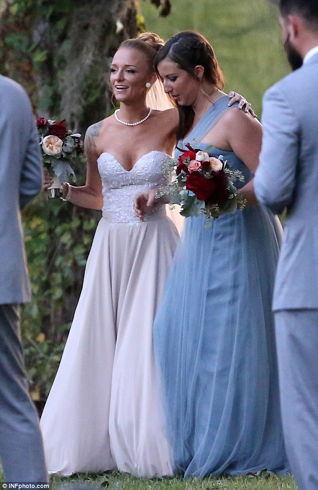 Family and friends: The Nashville-based couple tied the knot in Florida, despite the looming threat of Hurricane Matthew