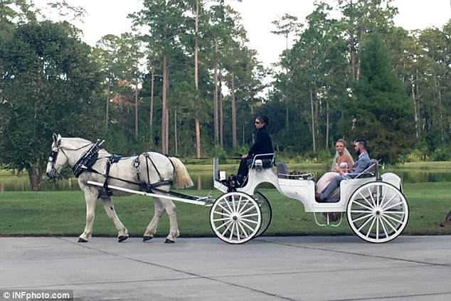 Making an exit: The couple were carried off in a horse-drawn carriage after their big day
