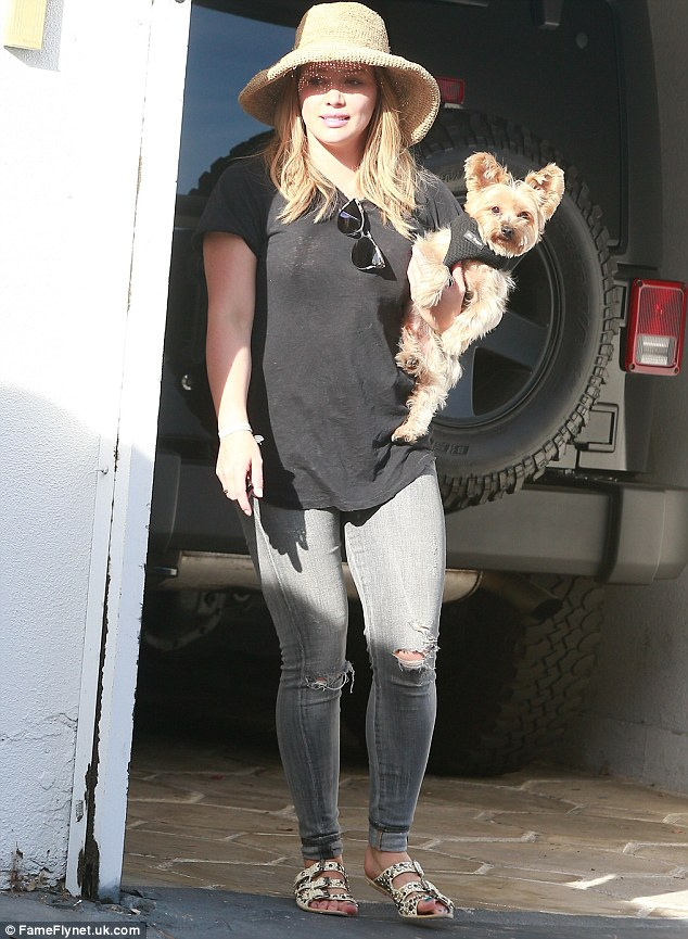 Adorable:Later on in the day, Hilary was spotted holding on to her adorable Yorkie dog while leaving the gym