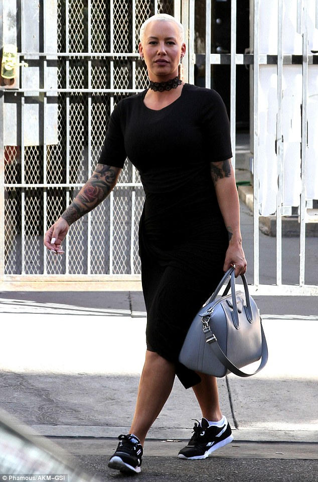 Looking good: Amber Rose was spotted rocking an LBD while heading to DWTS rehearsals in Los Angeles on Sunday