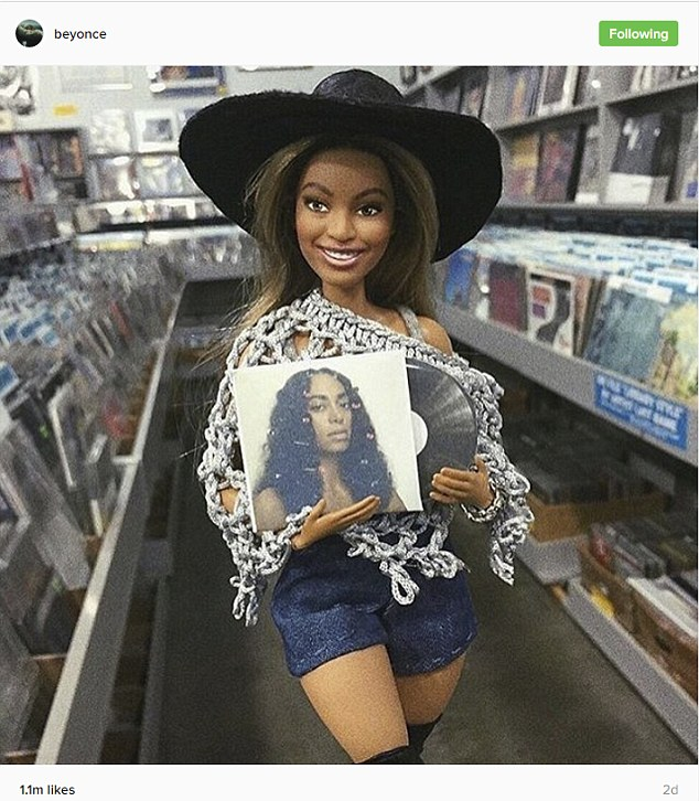She's a fan: Beyonce also posted a cute snap of a Beyonce Barbie buying Solange's album
