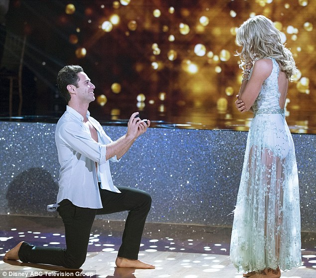 The big moment: Slater dropped down on one knee after dancing with his love