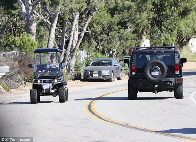 Street legal: Chris, who is currently dating British actressAnnabelle Wallis, drove the luxury vehicle down the proper neighborhood roadway