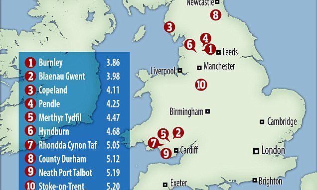REVEALED: The most and least affordable places in the UK to buy a home - as average house