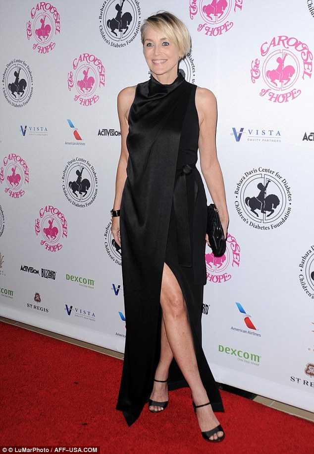 Crossing the legs: On Saturday night, Sharon Stone attended the 2016 Carousel Of Hope Ball at The Beverly Hilton