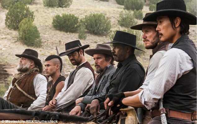Still riding: The Magnificent Seven hung in for fourth place with $9.1 million, pushing the Western remake's haul to $75.9 million domestically and $134.6 million globally